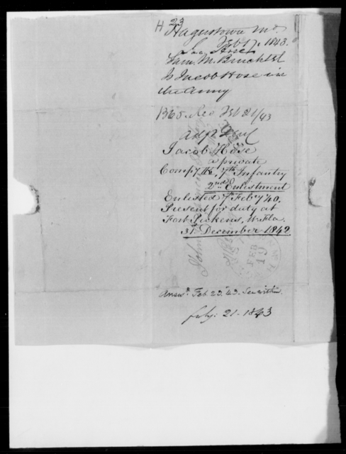 Hose, Jas - State: Maryland - Year: 1843 - File Number: H23