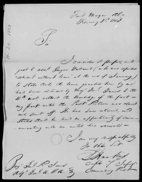 Hosteller, S - State: Alabama - Year: 1843 - File Number: H19