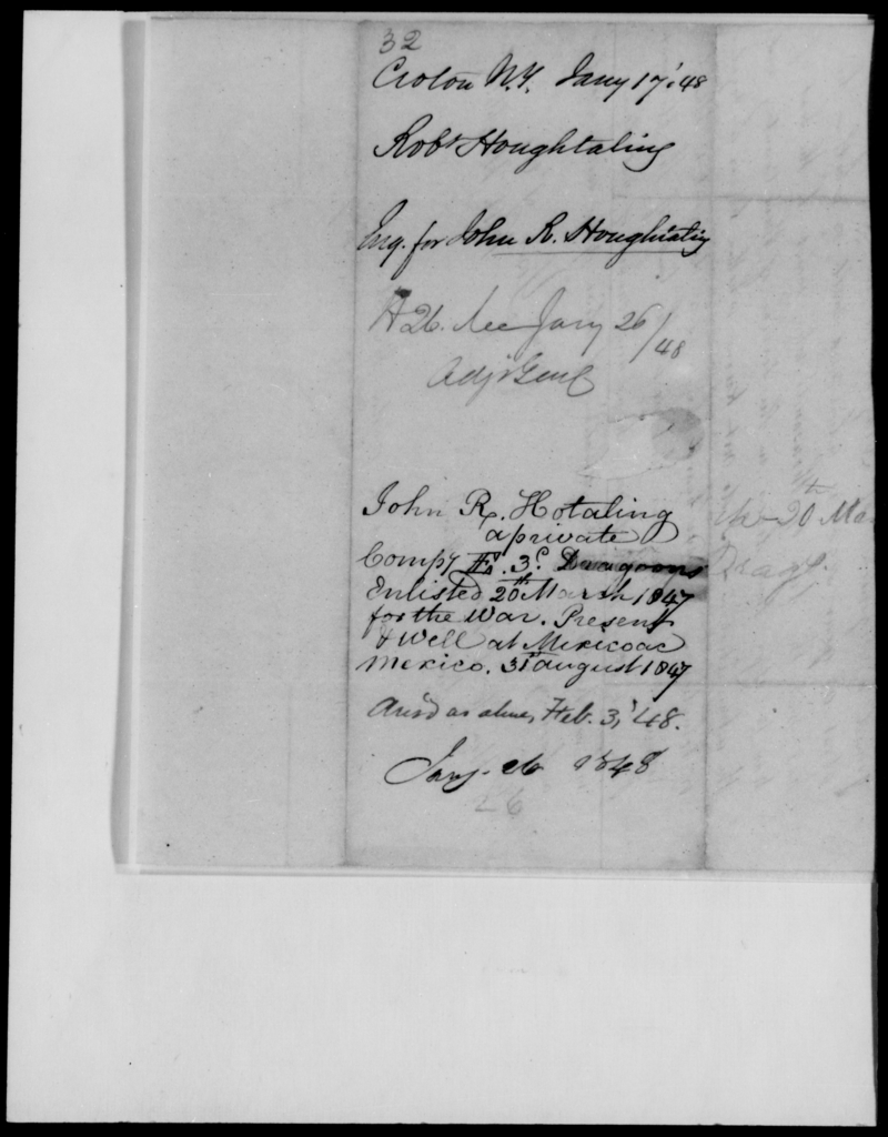 Houghtaling, Robt - State: New York - Year: 1848 - File Number: H32
