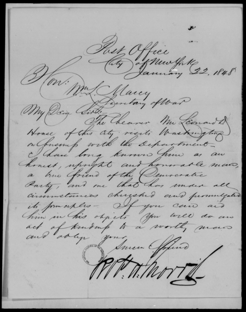 House, Leonard D - State: New York - Year: 1848 - File Number: H54
