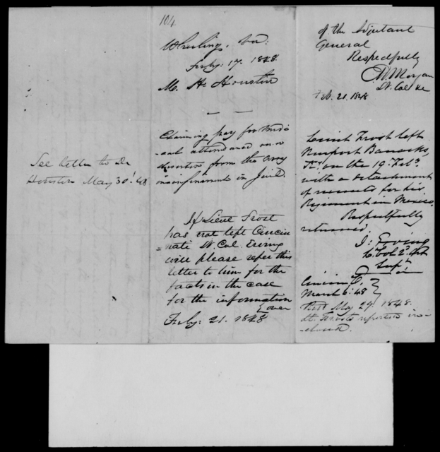 Houston, M H - State: Virginia - Year: 1848 - File Number: H104