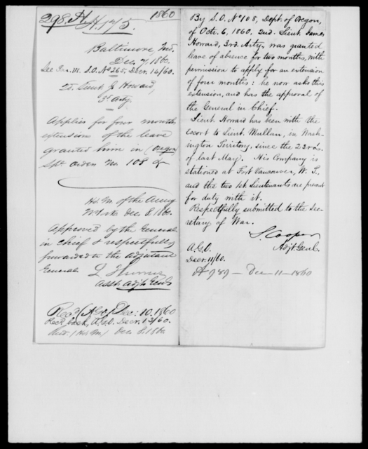 Howard, J - State: Maryland - Year: 1860 - File Number: H298