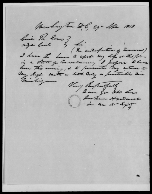 Howard, Jorham - State: District of Columbia - Year: 1848 - File Number: H274