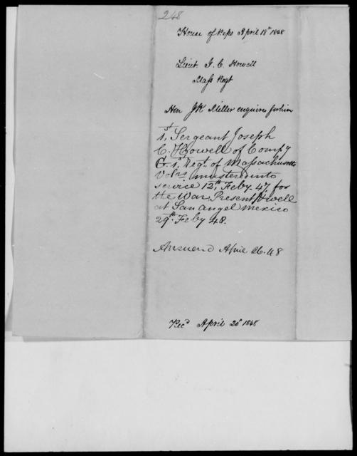 Howell, Joseph C - State: Massachusetts - Year: 1848 - File Number: H248