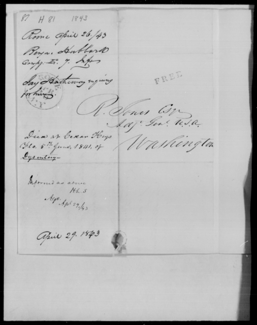 Hubbard, Benj - State: [Blank] - Year: 1843 - File Number: H81