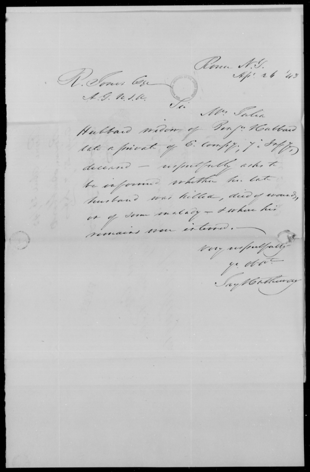 Hubbard, Benj - State: New York - Year: 1843 - File Number: H81