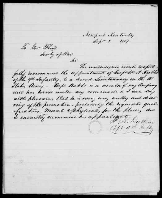 Hubbs, William - State: Kentucky - Year: 1860 - File Number: H301