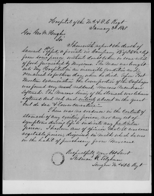 Hughes, Geo W - State: Maryland - Year: 1848 - File Number: H92