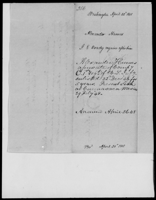 Humes, Alexander - State: Washington - Year: 1848 - File Number: H256