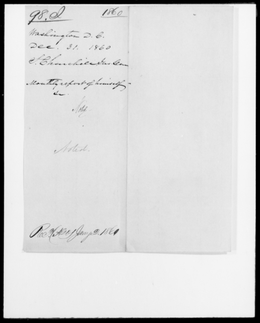 Irons, Washington W - State: District of Columbia - Year: 1860 - File Number: I98