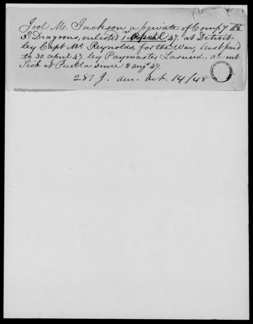 Jackson, Joel M - State: [Blank] - Year: 1848 - File Number: J281