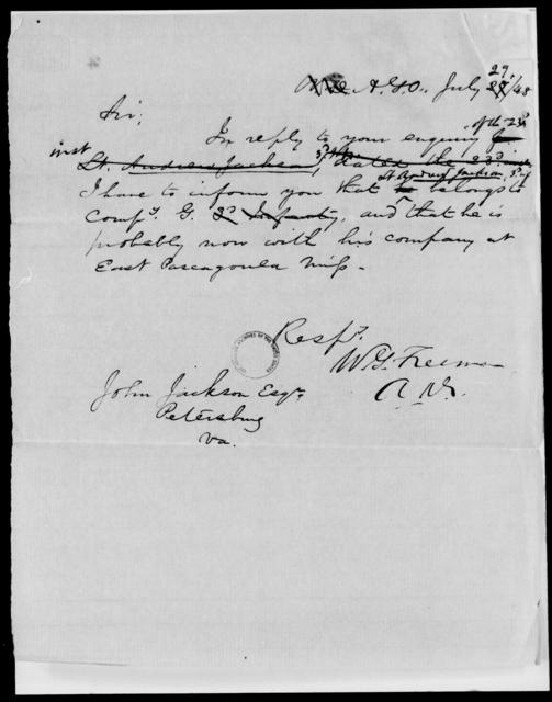 Jackson, John - State: [Blank] - Year: 1848 - File Number: J189