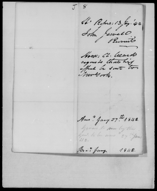 Jewell, John - State: [Blank] - Year: 1842 - File Number: J8