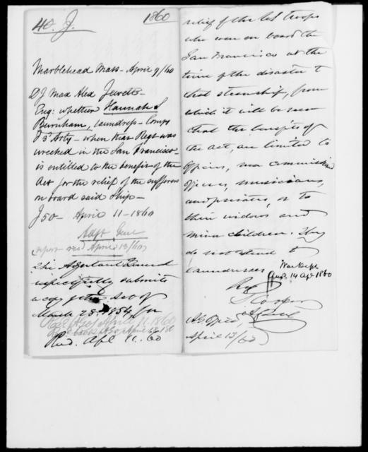 Jewett, D J Max Alex - State: Massachusetts - Year: 1860 - File Number: J40