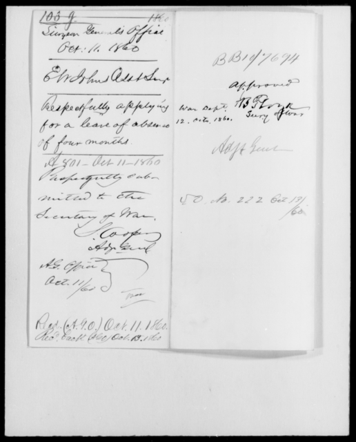 Johns, E W - State: [Blank] - Year: 1860 - File Number: J103