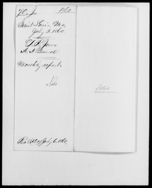 Jones, D R - State: Missouri - Year: 1860 - File Number: J70