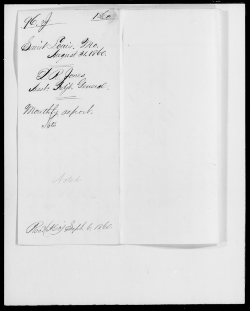 Jones, D R - State: Missouri - Year: 1860 - File Number: J96