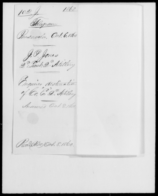 Jones, J P - State: [Blank] - Year: 1860 - File Number: J102