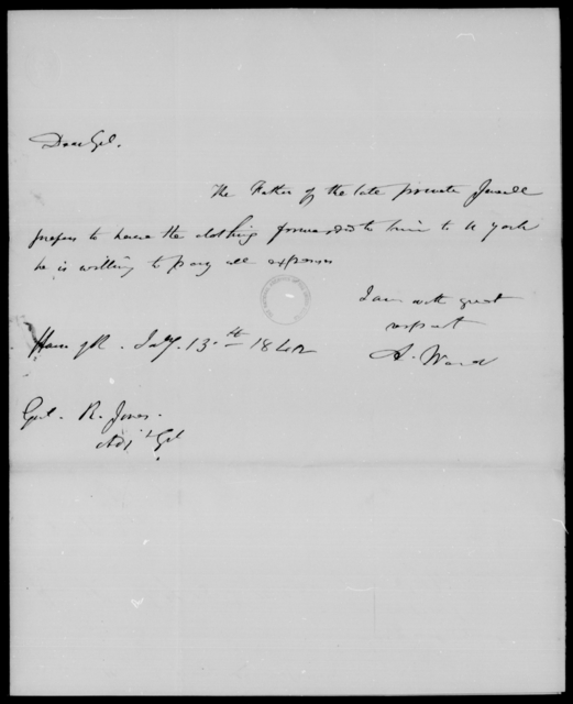 Jones, John - State: [Blank] - Year: 1842 - File Number: J8
