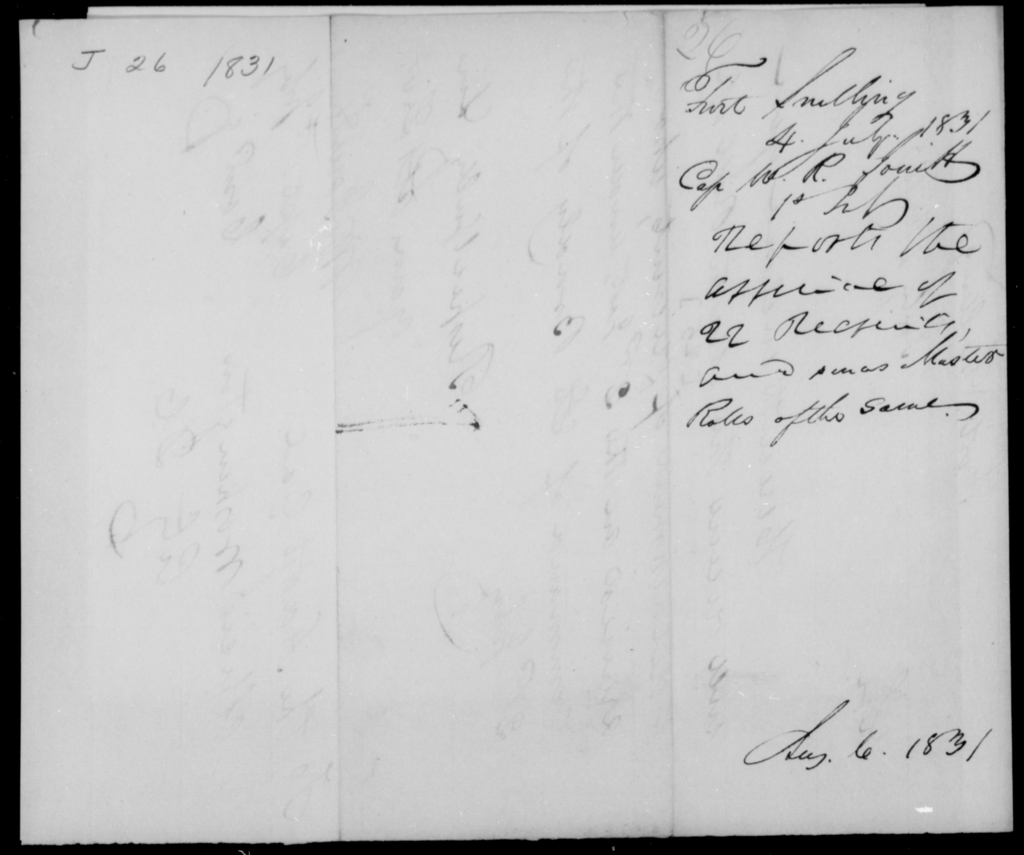 Jowitt, W R - State: [Blank] - Year: 1831 - File Number: J26