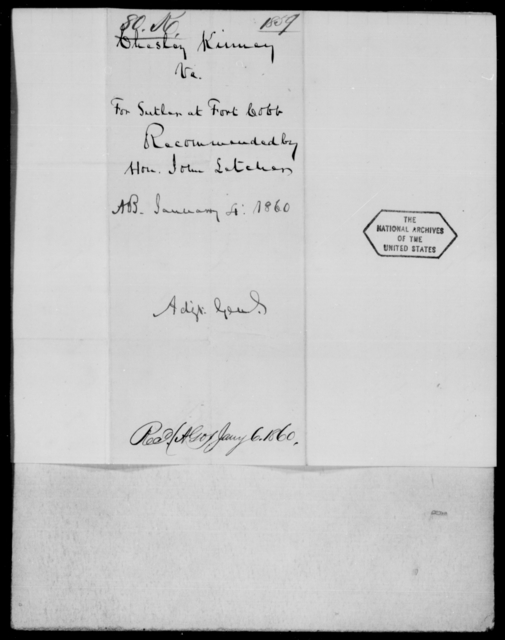 Keirney, Chesley - State: Virginia - Year: 1859 - File Number: K80