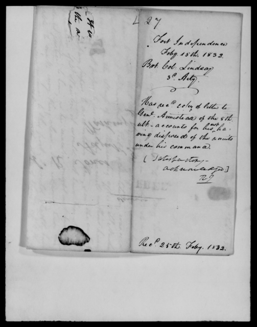 Lindsay, William - State: Maine - Year: 1832 - File Number: L27