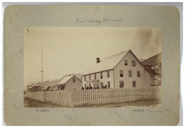 Loud 9, Boundry House, store, and 2 company houses, Ounalaska [Unalaska] c. 1886. Photograph by M. Lorenz