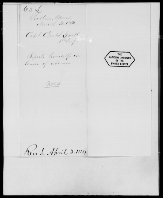 Lovell, Chas S - State: Massachusetts - Year: 1854 - File Number: L63