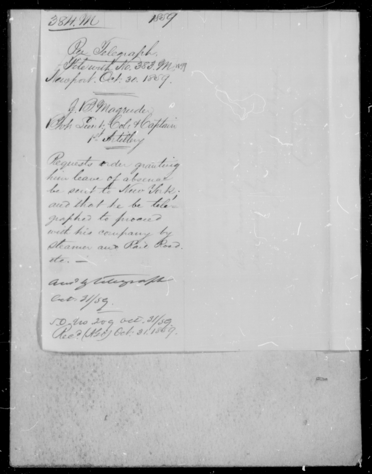 Magruder, J B - State: Maryland - Year: 1859 - File Number: M384
