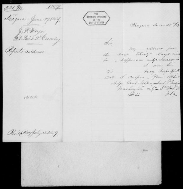 Major, J P - State: New York - Year: 1859 - File Number: M231