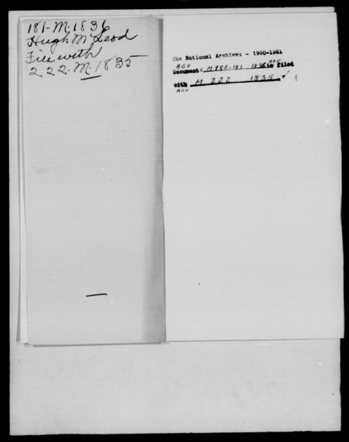 McIntosh, J S - State: Alabama - Year: 1836 - File Number: M180
