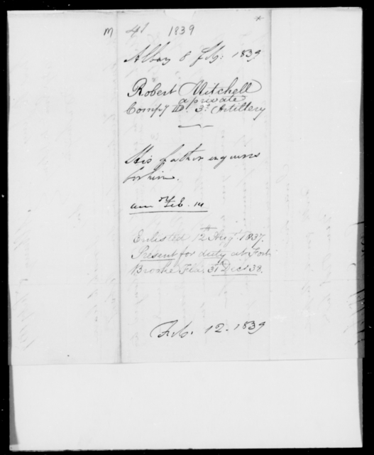 Mitchell, Robert - State: [Blank] - Year: 1839 - File Number: M41