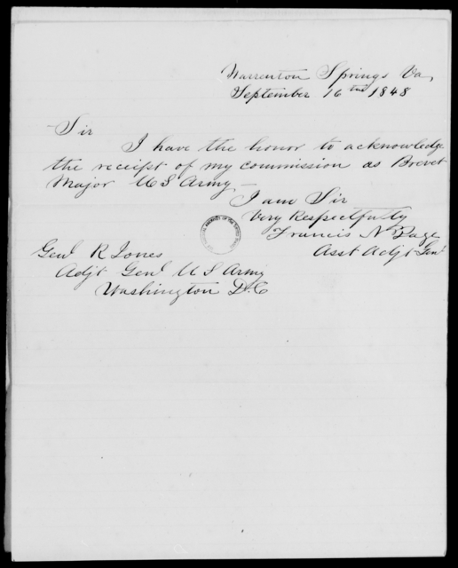 Page, Francis N - State: Virginia - Year: 1848 - File Number: P407