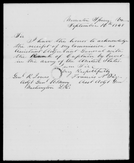 Page, Francis N - State: Virginia - Year: 1848 - File Number: P408