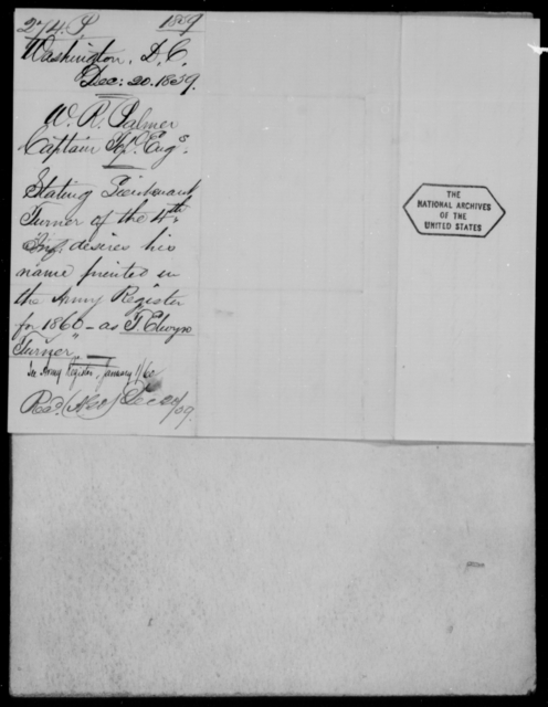 Palmer, W R - State: District of Columbia - Year: 1859 - File Number: P274