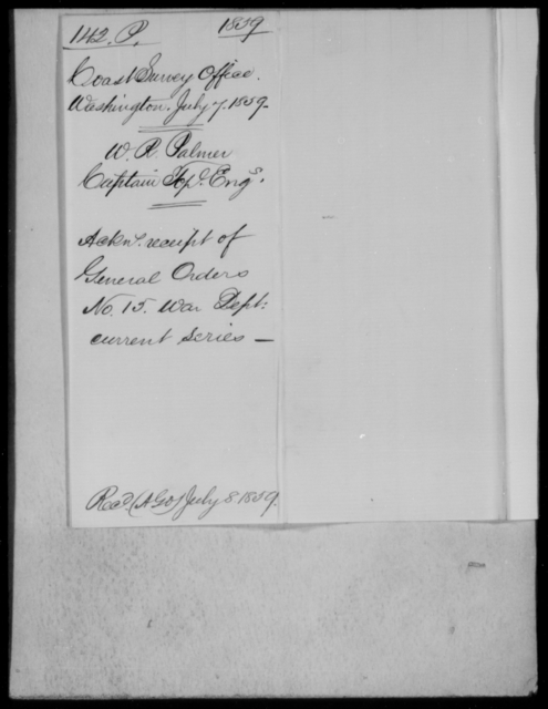 Palmer, W R - State: Washington - Year: 1859 - File Number: P142