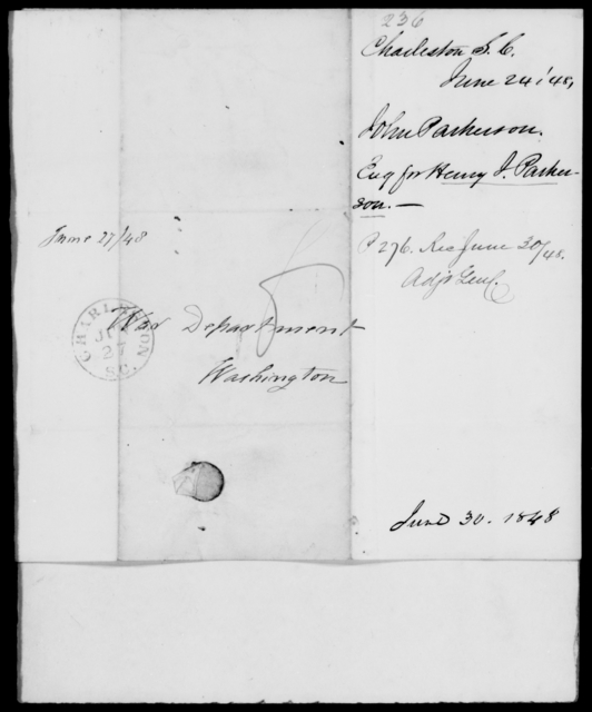 Parkerson, John - State: South Carolina - Year: 1848 - File Number: P236