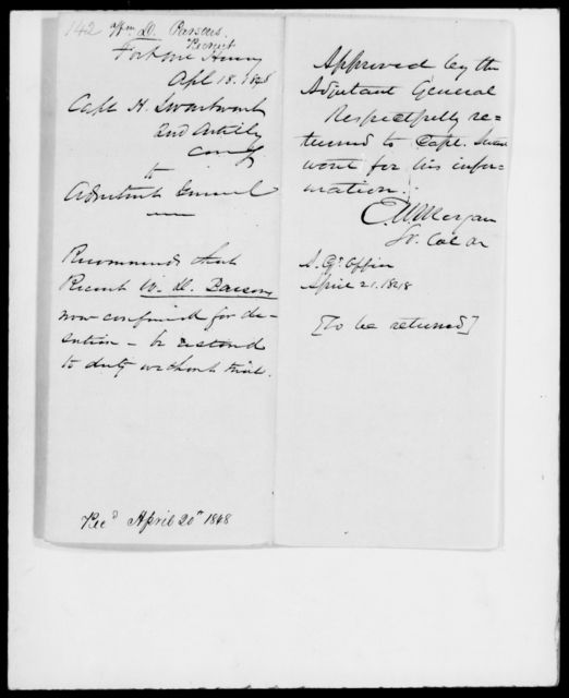 Parsons, William D - State: [Blank] - Year: 1848 - File Number: P142