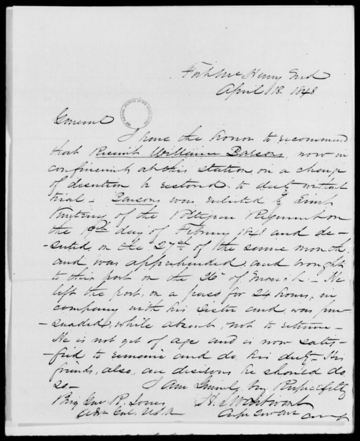Parsons, William D - State: Maryland - Year: 1848 - File Number: P142