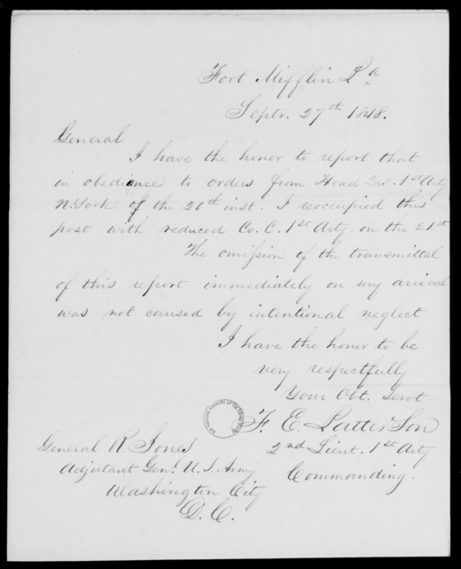 Patterson, F E - State: Louisiana - Year: 1848 - File Number: P436