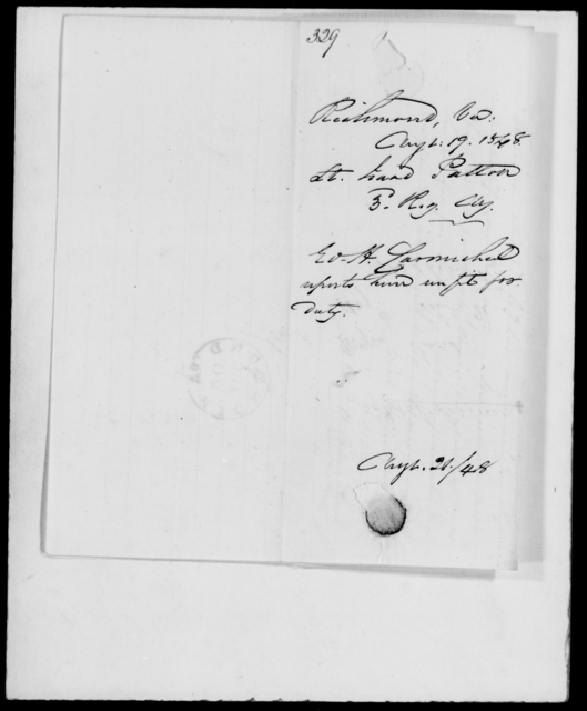 Patton, Isaac - State: Virginia - Year: 1848 - File Number: P329
