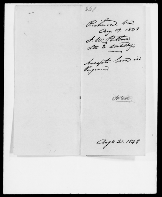 Patton, J W - State: Virginia - Year: 1848 - File Number: P330