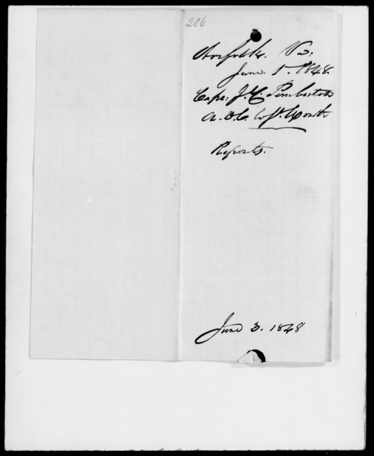 Pemberton, J C - State: Virginia - Year: 1848 - File Number: P206
