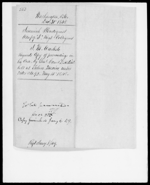 Pendergrast, Jeremiah - State: District of Columbia - Year: 1848 - File Number: P553