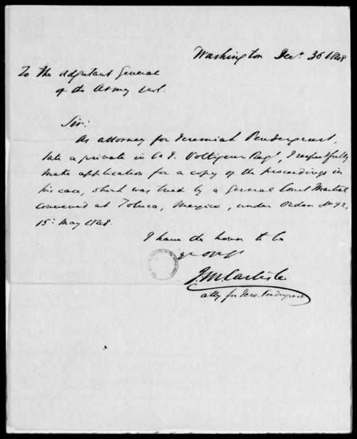 Pendergrast, Jeremiah - State: Washington - Year: 1848 - File Number: P553