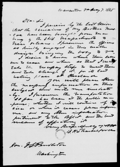 Pendleton, J S - State: Virginia - Year: 1848 - File Number: P174