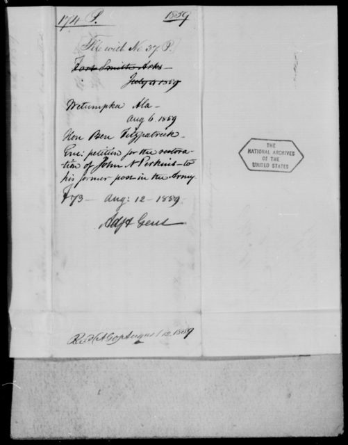 Perkins, Jno N - State: Alabama - Year: 1859 - File Number: P37