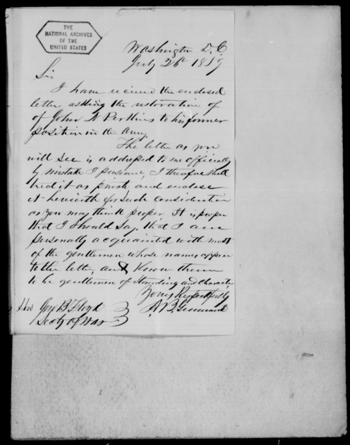 Perkins, Jno N - State: District of Columbia - Year: 1859 - File Number: P37