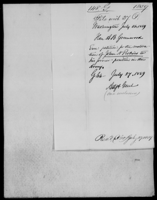 Perkins, Jno N - State: Washington - Year: 1859 - File Number: P37
