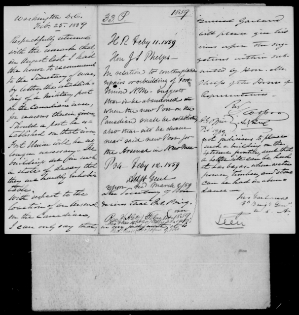 Phelps, John S - State: District of Columbia - Year: 1859 - File Number: P33